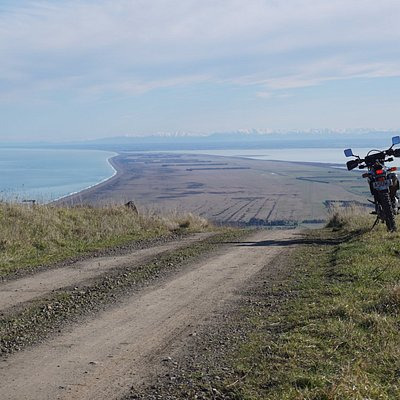 Kaitorete Spit from Bossu Rd with Ellesmere, Canterbury Plains and Southern Alps -Southern Bays