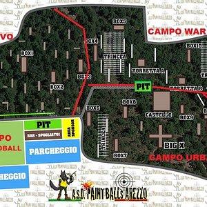 mappa del campo da gioco di paintball e softair più grande d'italia