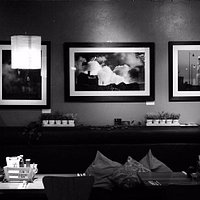 black and white cafe