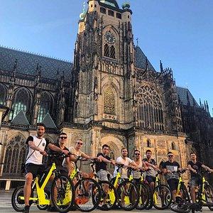 Team riding in Prague castle
