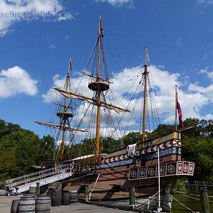Replica of English settler's ship moored on James River.