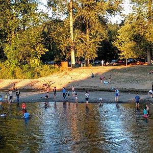 Summer time. Riverside beach at Isaac Evans Park.