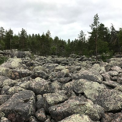 Jaipaljukka hiking trail in Pello in Lapland Finland. Rock formation from ice age.