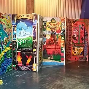murals on doors as soon as you walk into the museum