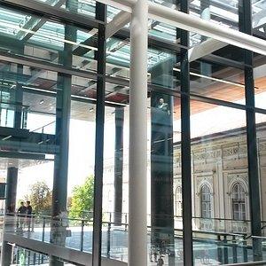Views to Knez Mikhailov pedestrian walkway from inside the Rajiceva shopping center.