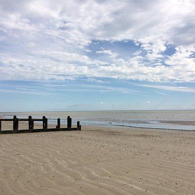 Tide out, sandy beach