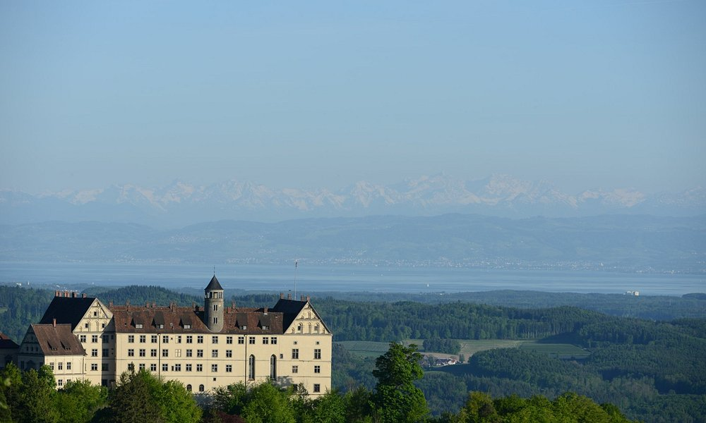 Heiligenberg castle with Alps and Lake Konstanz in the background