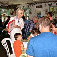 Signe welcomes family vacationers for breakfast