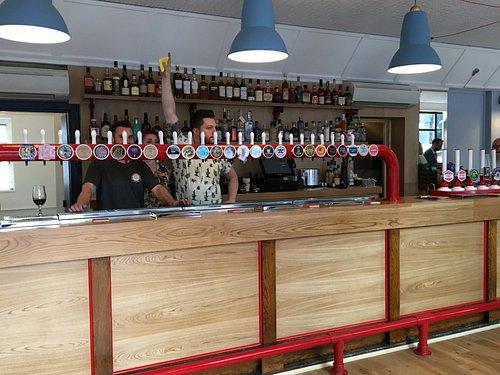 Happy bar staff