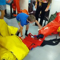 Try on a survival suit