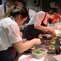 """The kitchen at """"Den Lille Fede"""" is the playing field of the Chefs."""