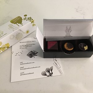 A sample of the gorgeous chocolates available at Mademoiselle Miel.