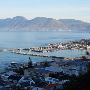 Kalk Bay harbor and  the mountains of the Cape Peninsula from Boyes Drive