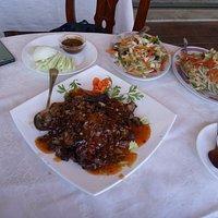 Cerdo Cha Sao (creo que se escribe así) y verduras salteadas