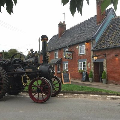 """Danny and Adam celebrating """"Steam it Sunday"""" called in to The Bull with Oliver the Traction Engi"""