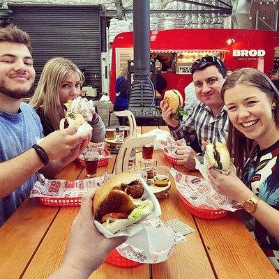 Enjoying a Brod Burger and tasting paddle at Capital Brewery