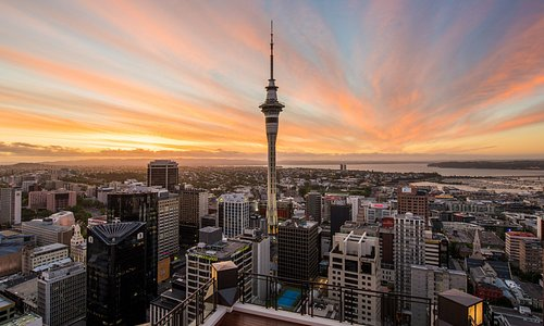 Enjoy beautiful views over Auckland from the Sky Tower