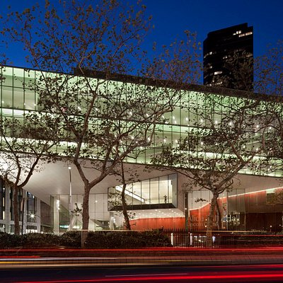 The Juilliard School at night, across Broadway.