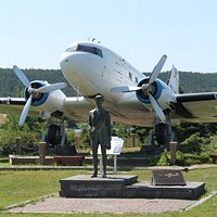 "The ""Spirit of Harbour Grace"" and Amelia Earhart statue"