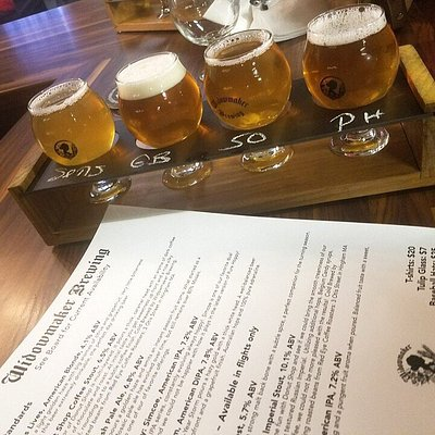 Flight and menu of beers on tap.