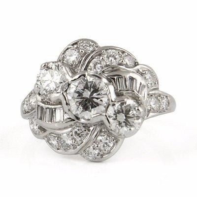 Art Deco Platinum Diamond Ring - Daisy Exclusive Estate Jewellers