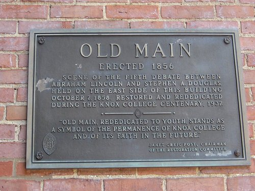 Plaque on Old Main, Knox College