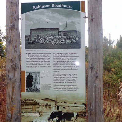 Interpretive signs tell about the history