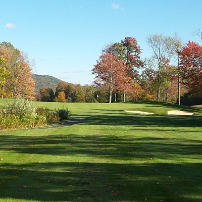 Hole 7 on the Lakes course at Stratton Golf Club. Nice Par 3!