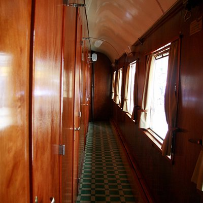 The passengers car corridor. Where you settle in and are received with a welcoming drink.