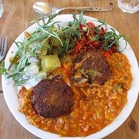 Delicious: Leek and Mushroom risotto, rissoles and salad