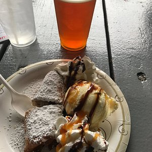 Score of the day, fried Cannoli, scoop of vanilla, whipped cream & drizzle of chocolate and cara