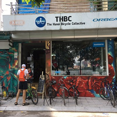 Across the street from lake, Hanoi Bike Collective shop