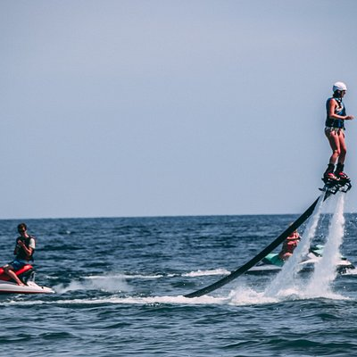 Another thrill seeker flying high above the warm waters of Lake Erie
