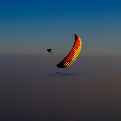 Flying at Crestline, California. Paragliding California.