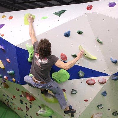 Indoor climbing wall. Bouldering and fun.