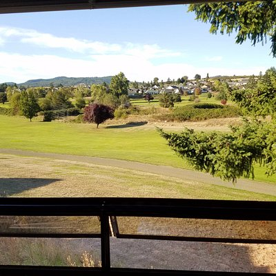 Taken thru the window of our RV.  The RV is parked at the edge of the Golf Course.
