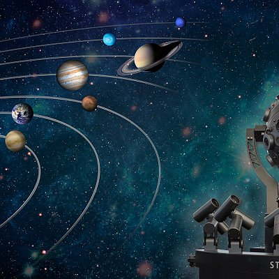 Digitale 360°-Fulldome-Videoprojektion unseres Sonnensystems mit Sternprojektor Zeiss Starmaster