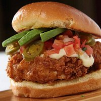 Fried Chicken Sandwich with Queso, Jalepenos and Avocado