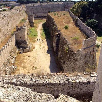 Varying views of the fortifications that enclose Rhodes Old Town.