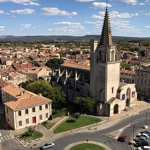 View from the rooftop of Tarascon castle of L'église Sainte-Marthe de Tarascon