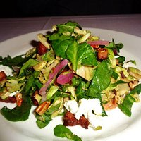 haved Brussels sprouts salad w/ toasted pecans, goat cheese,& smoked bacon