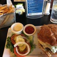 Green Chili Burger and fries.