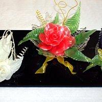 Schwan und Blumen aus Zuckerarbeiten