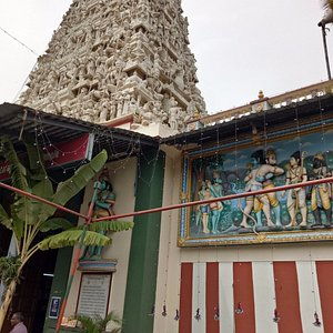 A view of the Vontikoppal Temple. Look for the Ramayana mural.