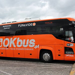 OKbus in front of Palace of Culture