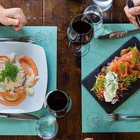bis: tartare di fassona e salmone marinato