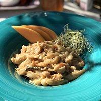 Homemade pljukanci with adriatic prawns