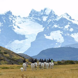 Horseback riding to view point Pratt where you can see the glacier Balmaceda