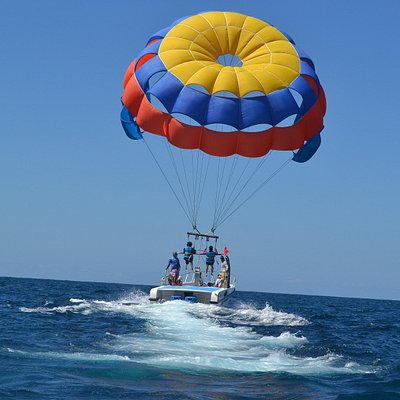 Parasailing adventure more safe than normal parasailing it will land and take off on the boat ,