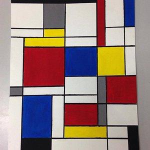 Here we were imitating Piet Mondrian during our painting  classes. Nice work, Veronika!